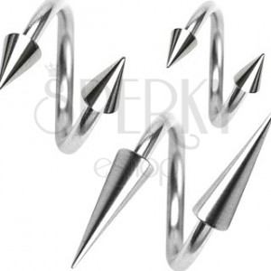 Stainless steel piercing, spiral with spiked bead 1,2 mm