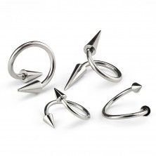 Stainless steel piercing, spiral with spiked bead, 1,2 mm