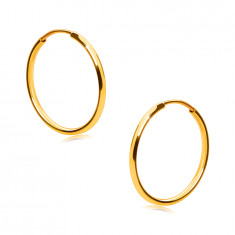 Golden round earrings in 14K gold - thin round shoulders, smooth and shiny surface, 15 mm