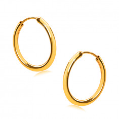 Golden earrings in 14K gold, hoops, round shoulders, smooth and shiny surface, 14 mm