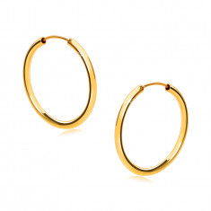 Golden round earrings in 14K gold - round shoulders, smooth and shiny surface, 18 mm