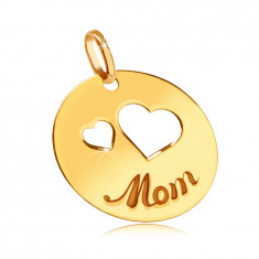 "Flat 375 gold pendant - cutouts of two hearts, engraved inscription ""Mom"", shiny circle"