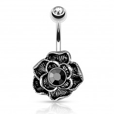 Vintage bellybutton piercing made of stainless steel - blooming rose, black hematite