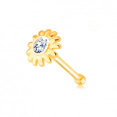 Diamond nose piercing of 585 yellow gold - flower with brilliant in clear hue