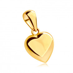 Pendant made of 14K yellow gold - full heart with a shiny and slightly convex surface