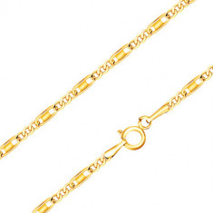 Chain made of 14K yellow gold - oval and oblong links, rectangle, 440 mm