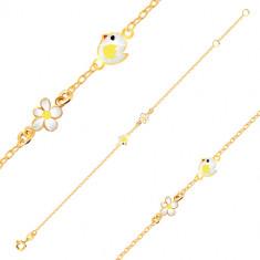 Bracelet in 9K yellow gold - glazed chick, flower with white glaze