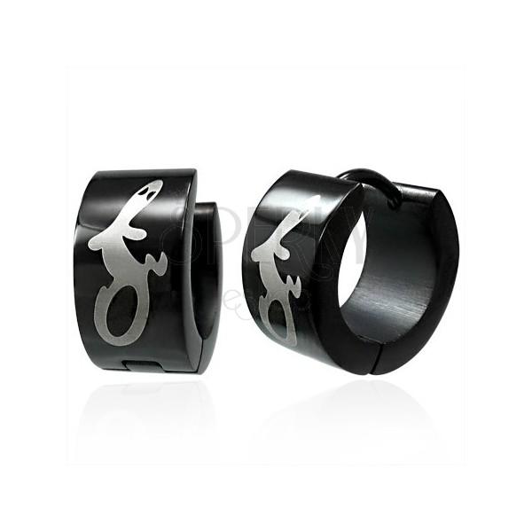 Huggie black steel earrings - cheerful lizard
