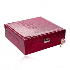 Rectangular jewelry box in a dark pink color - imitation of crocodile leather, buckle, key