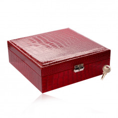 Rectangular jewelry box in a red color - imitation of crocodile leather, buckle, key