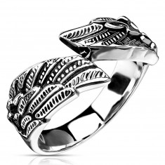 316L steel ring, wing shape, silver color