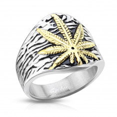 Stainless steel ring, marijuana leaf, silver color