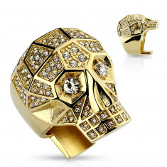 Massive 316L steel ring, gold color, skull, clear crystals