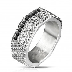 Steel ring - industrial style, massive screw with salients and black zircons