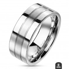 Steel ring with two shiny stripes on the edge and a matte central stripe, 8 mm