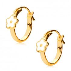 14K Gold round earrings, white flower, French lock, 12 mm