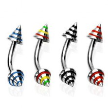 Eyebrow ring with three colourful stripes