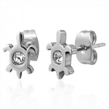 Earrings made of 316L steel - turtle with zircon, studs