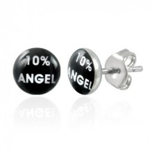 Steel earrings, black circle with white inscription 10% ANGEL
