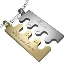 Steel pendant Puzzle, silver and gold