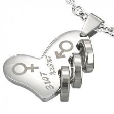 Stainless steel pendant - LUCKY LOVE silver heart