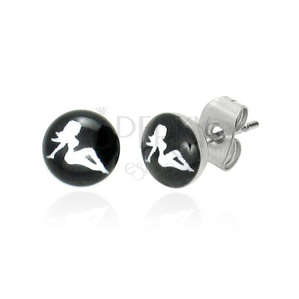 Stainless steel earrings - women's silhouette