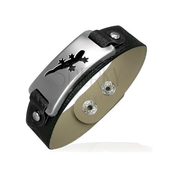 Leather imitation bracelet with steel lizard