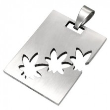Pendant made of surgical steel in silver colour, oblong with cannabis cutouts