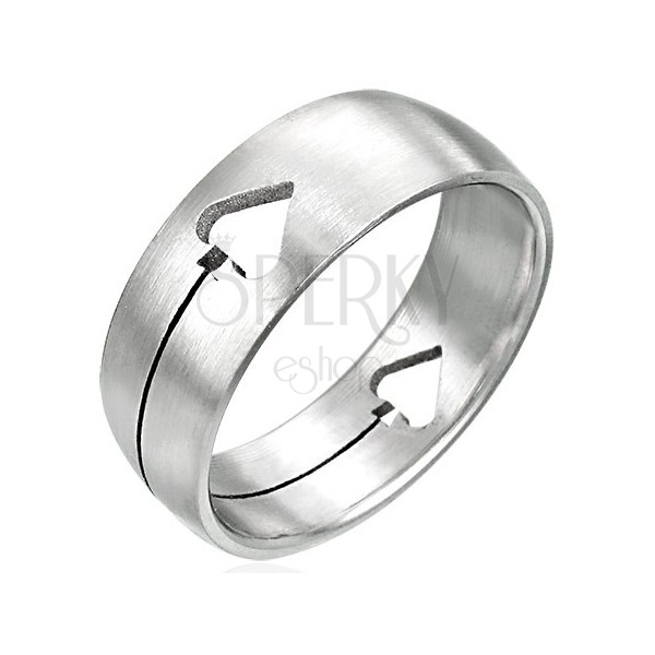 Stainless steel ring with spade card symbol