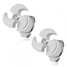 Steel earrings in silver colour - throwing blade, clear zircon