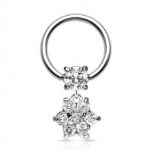 Stainless steel piercing - circle with zircon and flower of zircon