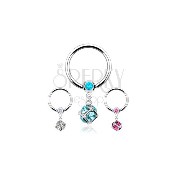 316L steel piercing, circle with balls and square inlaid with zircons