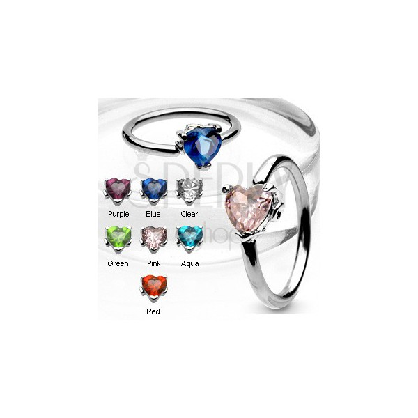 Body ring with heart-shaped zircon