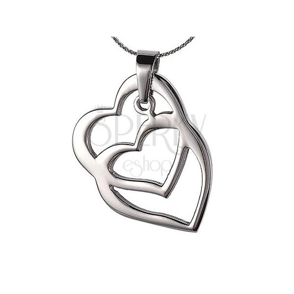 Steel pendant overlapping hearts