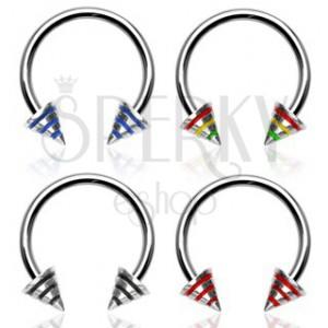 Striped spike horseshoe ring