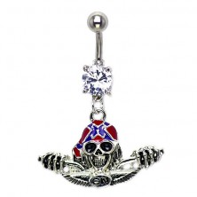 Belly button ring - skull with helmet