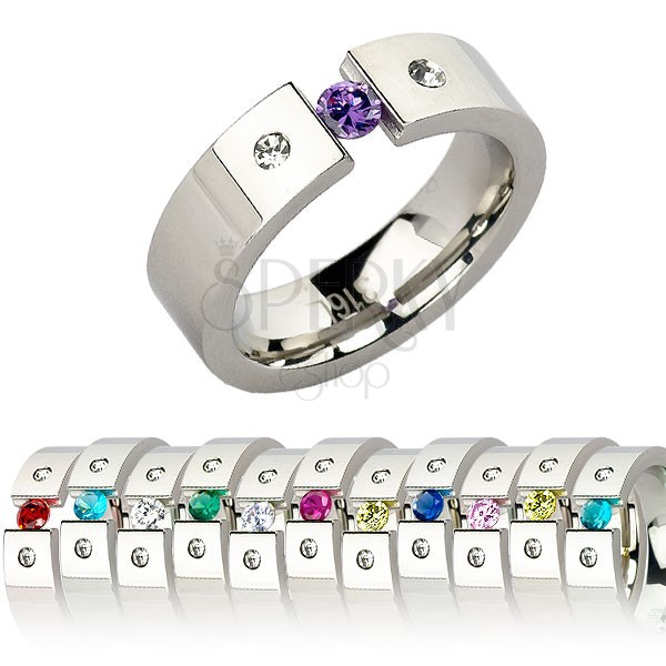 Steel ring with birthstone in colors of individual months