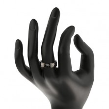 Black stainless steel ring - wolf
