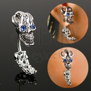 Pirate skull lobe ear piercing
