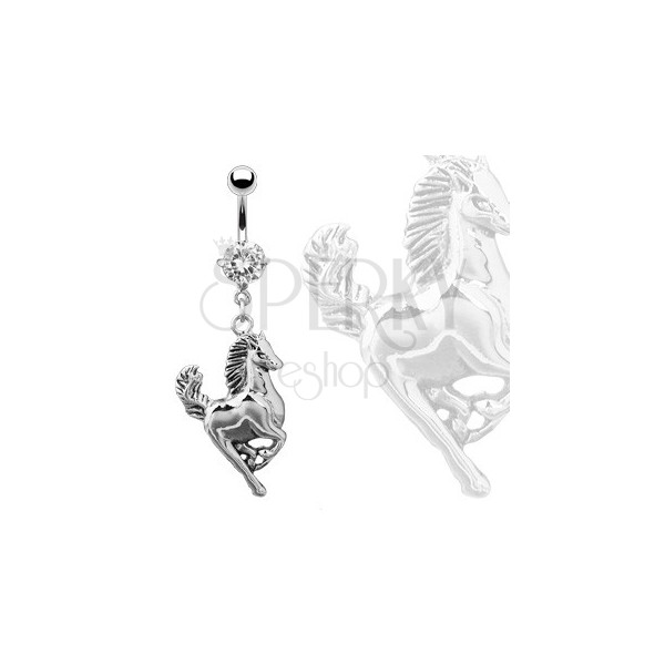 Belly piercing - galloping horse of silver colour, clear round zircon