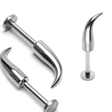 316L steel chin and lip piercing - glossy bent spike, width 1,6 mm