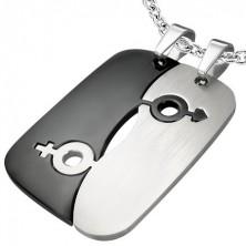 Set of pendant for couple - gender symbols
