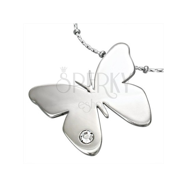 Pendant made of surgical steel, shiny butterfly with clear zircon