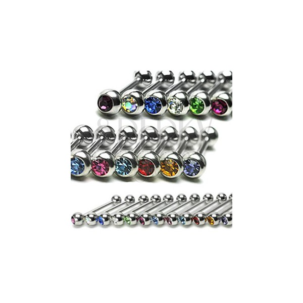 Steel tongue piercing – smooth bar, round zircon in a bezel