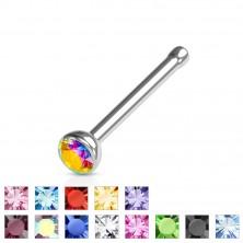 Nose piercing flat, 316L steel, glittery coloured zircon