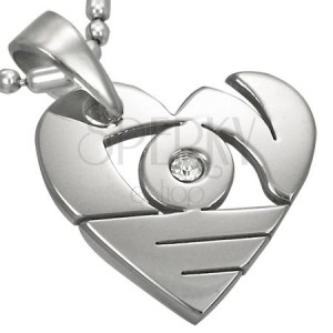 Pendant made of surgical steel in silver colour, shiny heart with cutouts and zircon