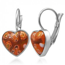 Earrings made of surgical steel - red protruding heart with flower patterns