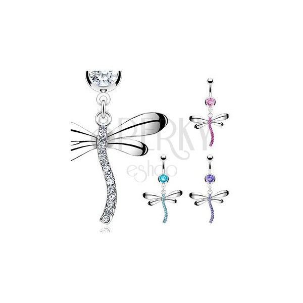 Belly piercing shaped as dragonfly inlaid with zircons