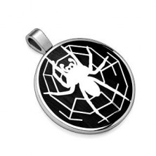 Pendant made of 316L steel, black circle with spider motif with spider web