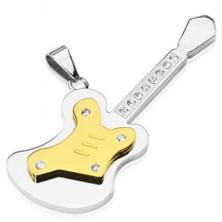 Stainless steel pendant - big guitar with zircons